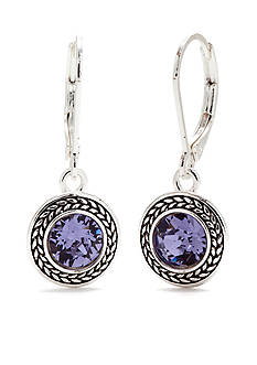 Napier Silver-Tone and Purple Swarovski Crystal Drop Earrings