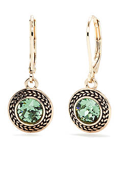 Napier Gold-Tone and Green Swarovski Crystal Drop Earrings