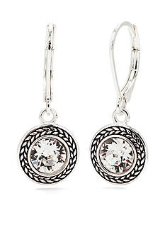 Napier Silver-Tone Swarovski Crystal Drop Earrings