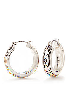 Napier Antiqued Silver-Tone Wide Band Hoop Earrings