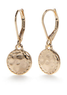 Napier Gold-Tone Hammered Disc Drop Earrings