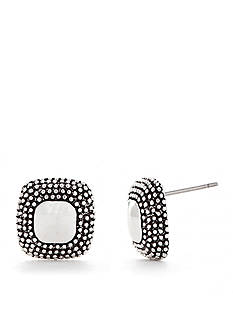 Napier Silver-Tone Cushion Cut Button Earrings