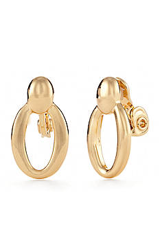 Napier Gold-Tone Doorknocker Clip Earrings