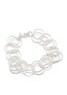 Napier Silver-Tone Open Circle Link Bracelet