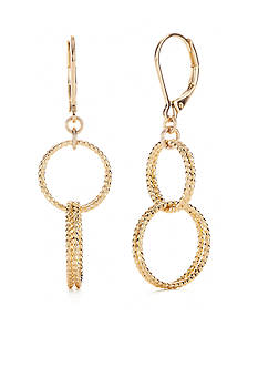 Napier Texturally Links Gold-Tone Double Drop Earrings