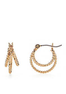 Napier Texturally Links Gold-Tone Triple Row Hoop Earring