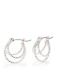 Napier Silver-Tone Three Row Hoop Earring