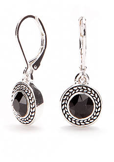 Napier Silver-Tone Jet Drop Earrings