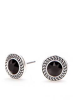 Napier Silver-Tone Jet Button Earrings