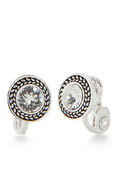 Napier Silver-Tone Twist Button Earring