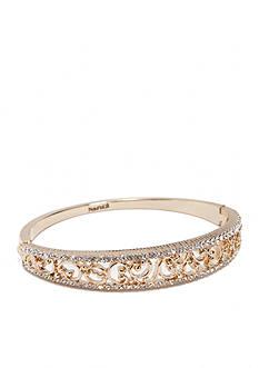 Napier Gold-Tone Filigree Hinge Bangle Boxed Bracelet