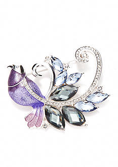 Napier Silver-Tone Purple and Blue Bird Boxed Pin