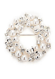 Napier Silver-Tone White Pearl Wreath Boxed Pin