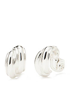 Napier Silver-Tone Button EZ Comfort Clip Earrings