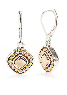 Napier Two-Tone Texture Play Drop Earrings
