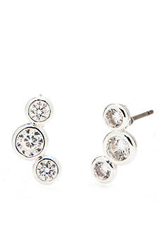 Napier Silver-Tone and Cubic Zirconia Three Stone Bubble Earrings