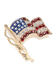 Napier Gold-Tone American Flag Boxed Pin