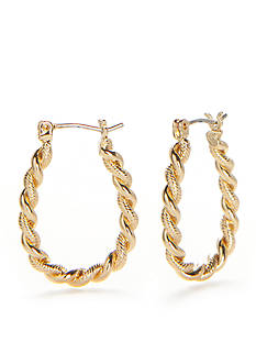Napier Gold-Tone Twisted Rope Hoop Earrings