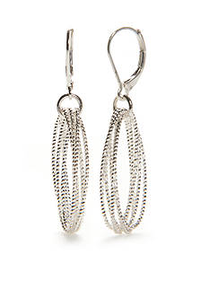 Napier Silver-Tone Sparkling Links Drop Earrings