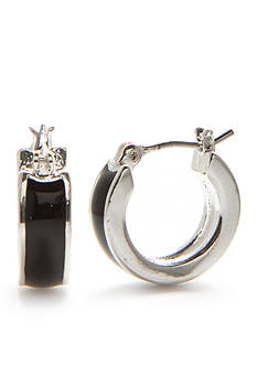 Napier Silver-Tone Ring Master Jet Small Hoop Earrings