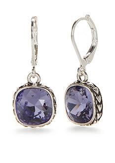 Napier Silver-Tone Crystal Drop Earrings