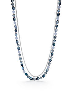 Napier Silver-Tone Denim The Way Long Necklace