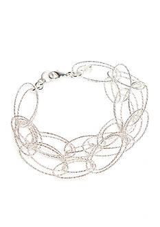 Napier Silver-Tone Sparkling Links Chain Bracelet