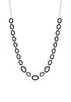 Napier Silver-Tone Ring Master Jet Collar Necklace