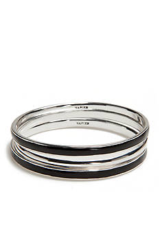 Napier Silver-Tone Ring Master Jet Bangle Bracelet Set