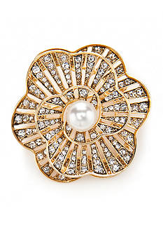 Napier Gold-Tone Pearl Flower Boxed Pin