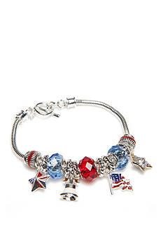 Napier Silver-Tone American Parade Charm Bracelet
