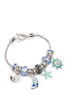 Napier Silver-Tone Sea Life Charm Boxed Bracelet