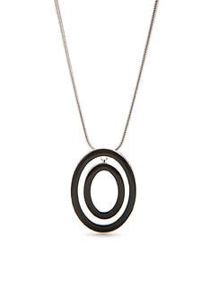 Napier Silver-Tone Ring Master Jet Pendant Necklace