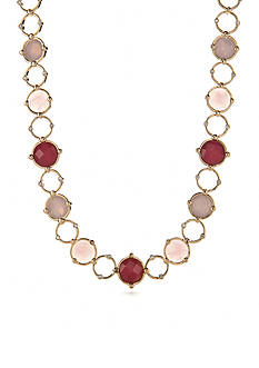 Napier Gold-Tone Oasis Pink Collar Necklace