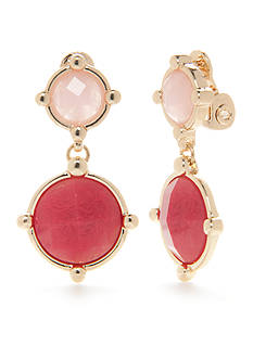 Napier Gold-Tone Oasis Pink Double Drop E-Z Comfort Clip Earrings