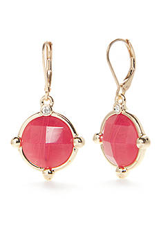 Napier Gold-Tone Oasis Pink Drop Earrings