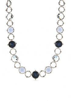 Napier Silver-Tone Oasis Blue Collar Necklace