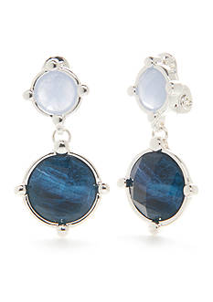 Napier Silver-Tone Oasis Blue Double Drop Clip Earrings