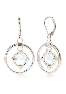 Napier Silver-Tone Oasis Blue Orbital Drop Earrings