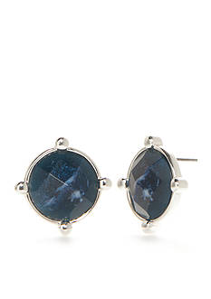 Napier Silver-Tone Oasis Blue Button Earrings