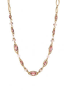 Napier Gold-Tone Midsummer Dance Pink Collar Necklace
