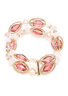 Napier Gold-Tone Midsummer Dance Pink Double Row Stretch Bracelet