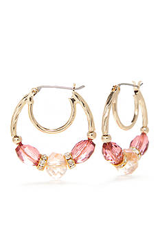 Napier Gold-Tone Midsummer Dance Pink Bead Hoop Earrings