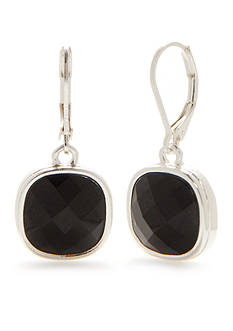 Napier Silver-Tone Black Drop Earrings