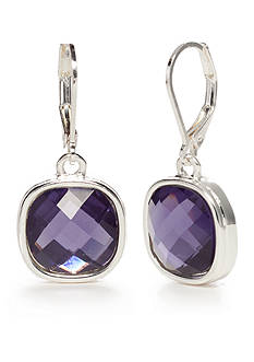 Napier Silver-Tone Purple Drop Earrings