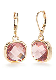 Napier Gold-Tone Pink Drop Earrings
