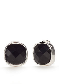 Napier Silver-Tone Large Black Button Earrings
