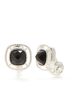 Napier Silver-Tone Black Small Button Earrings