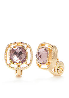 Napier Gold-Tone Square Pink Button Clip Earrings