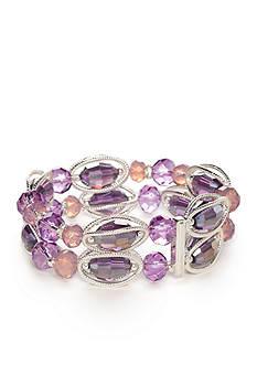 Napier Silver-Tone Midsummer Purple Dual Beaded Bracelet